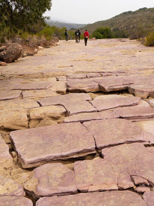 Es geht zunächst über Gesteinsplatten eines Flussbetts hinweg... Toro Toro, Bolivien (Foto Jörg Schwarz)
