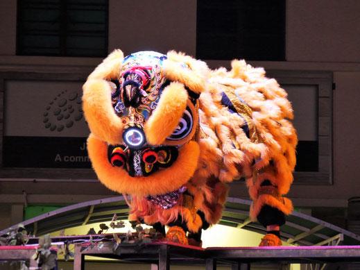 Der Tanzende Löwe - vorne meist ein kleiner, hinten ein starker Mann...  George Town, Penang, Malaysia (Foto Jörg Schwarz)