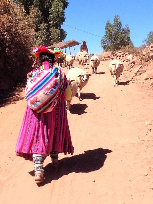 In Richtung Santa Maria fahren keine Fahrzeuge - Wandern ist angesagt! Santa Maria, Capachica, Peru (Foto Jörg Schwarz)