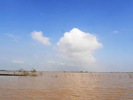 Als wir losfahren eröffnet sich uns ein Meer - Wasserfläche soweit das Auge reicht! Bei Takeo, Kambodscha (Foto Jörg Schwarz)