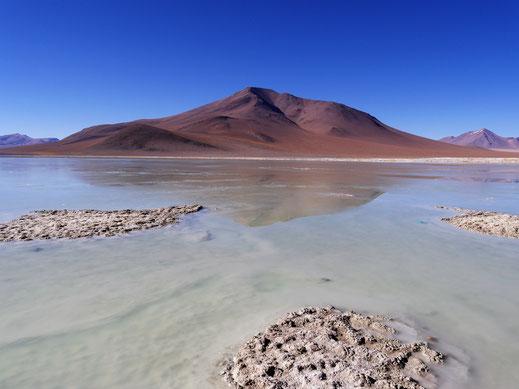 Ein Salar in der Morgensonne bei den Termas de Polques, Reserva de Fauna Andina, Bolivien (Foto Jörg Schwarz)