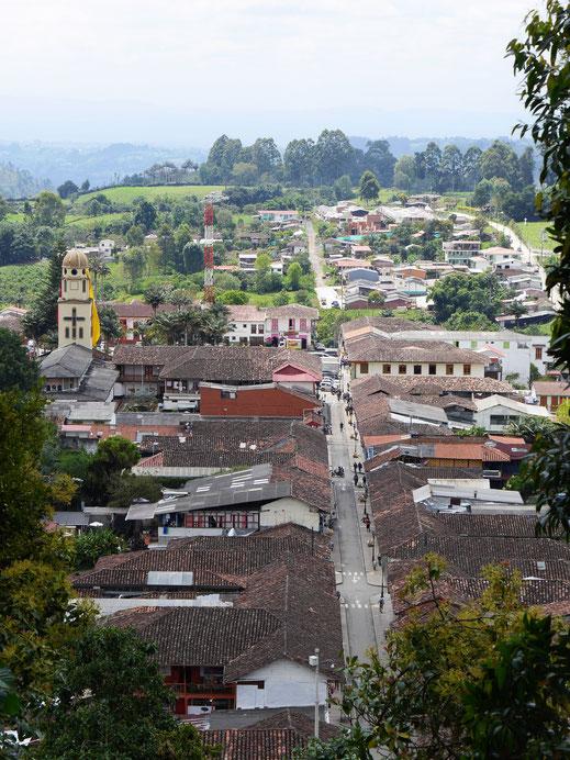 Auch aus der Vogelperspektive sehenswert: Salento, Kolumbien (Foto Jörg Schwarz)
