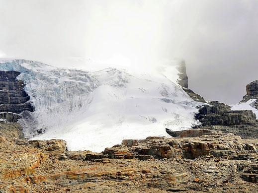 Hat sich schon weit zurückgezogen: Der Glaciar oberhalb der Lagune, Parque Nacional del Cocuy, Kolumbien (Foto Jörg Schwarz)