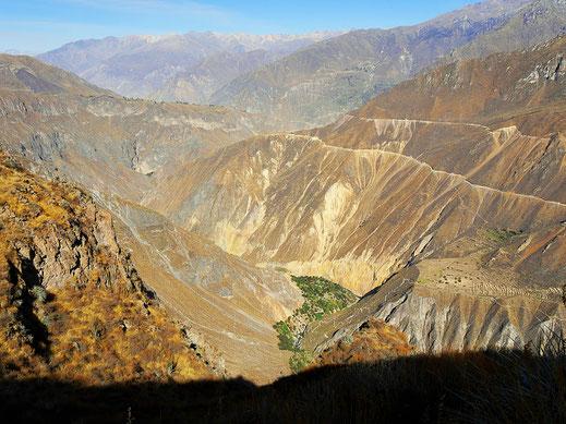 Da unten ist die Oase Sangalle, Colca-Canon, Peru (Foto Jörg Schwarz)