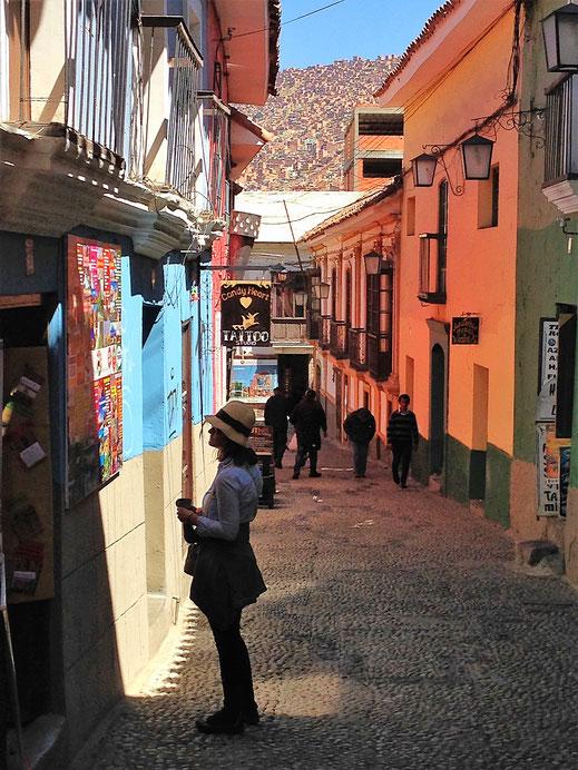 Die angeblich schönste Strasse in La Paz: Calle Jaen, La Paz, Bolivien (Foto Jörg Schwarz)