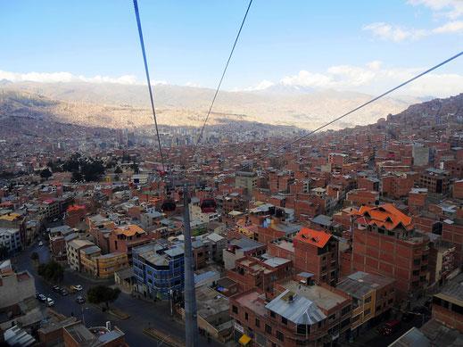 La Paz aus der Seilbahnperspektive, La Paz, Bolivien (Foto Jörg Schwarz)