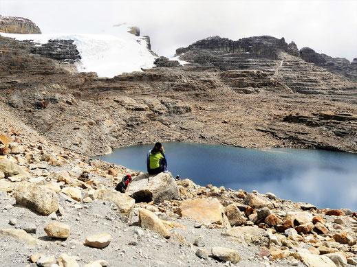 Am Ziel: Die Laguna Grande und ihr Gletscher... El Cocuy Nationalpark, Kolumbien (Foto Jörg Schwarz)