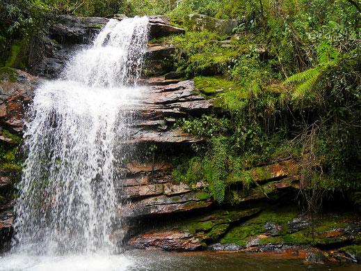 Teil der Cascada La Honda in einem atemberaubenden Dschungel, bei Villa de Leyva, Kolumbien (Foto Jörg Schwarz)