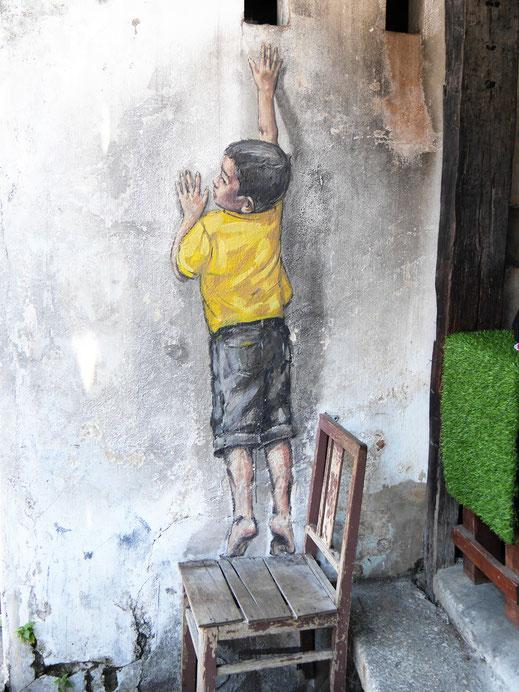 Einer der Klassiker unter den Streetartmotiven in George Town, Malaysia (Foto Jörg Schwarz)