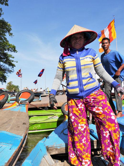 Unsere vietnamesischstämmige Bootsfrau, Kompong Chhnang, Kambodscha (Foto Jörg Schwarz)