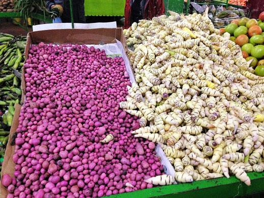 Obst- und Gemüsemärkte in Sogamoso - einfach klasse! Hier zwei leckere Kartoffelsorten... Sogamoso, Kolumbien (Foto Jörg Schwarz)