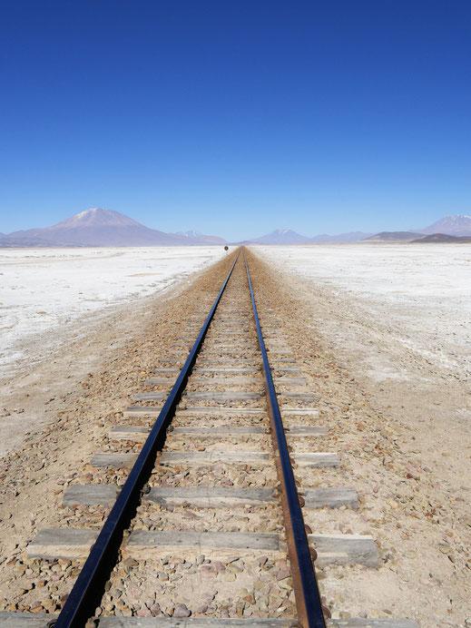 Die Schienen, die einst das Gold des Hochlands an den Pazifik transportiert haben, Lago Chiguana, Bolivien (Foto Jörg Schwarz)
