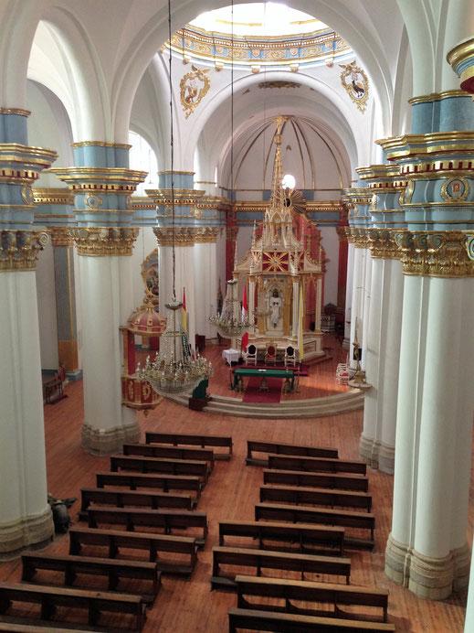 Blick aus der zweiten Etage auf die Kathedrale, Potosí, Bolivien (Foto Jörg Schwarz)