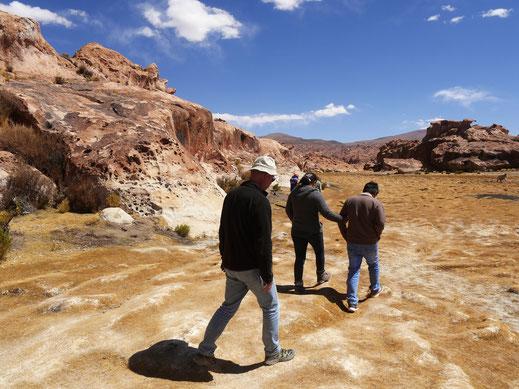 Die müden Helden schleppen sich zum letzten Höhepunkt: Die Laguna Negra, Bolivien (Foto Jörg Schwarz)