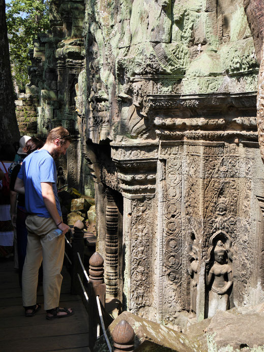 Ta Prohm ist auch jenseits seiner natürlichen Überwucherung sehenswert - tolle Verzierungen! Ta Prohm, Kambodscha (Foto Jörg Schwarz)