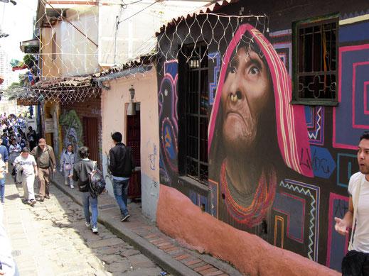 Natürlich entdecken wir auch eines der berühmtesten Streetartbilder der Stadt, Bogotá, Kolumbien (Foto Jörg Schwarz)