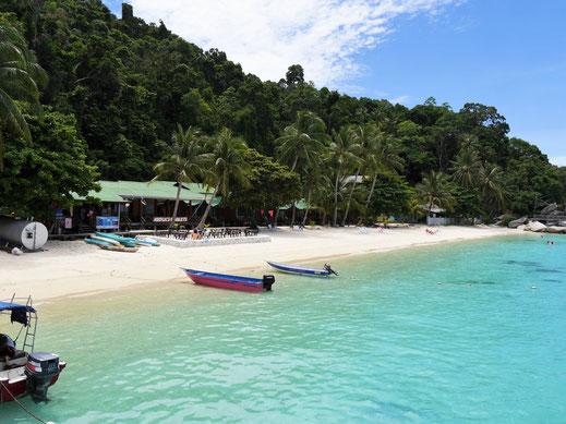 Der wunderschöne Strand bei Abdul's Chalets, Pulau Perhentian Besar, Malaysia (Foto Jörg Schwarz)