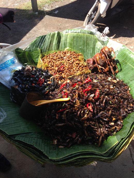 Was für ein Snack am Busbahnhof: Wieviel darf's denn sein? Battambang, Kambodscha (Foto Jörg Schwarz)