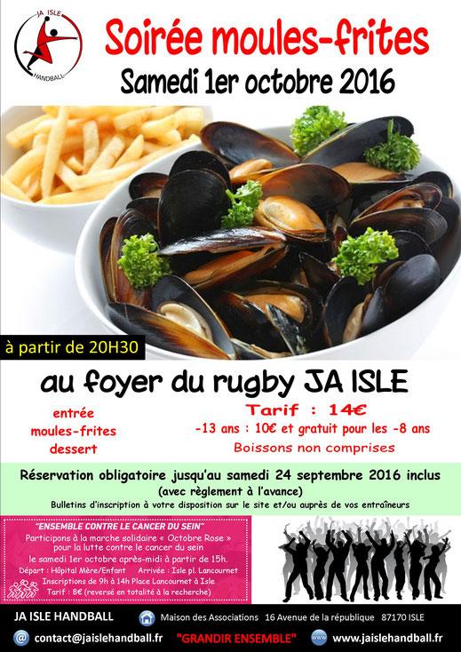 affiche soirée moules-frites le samedi 1er octobre