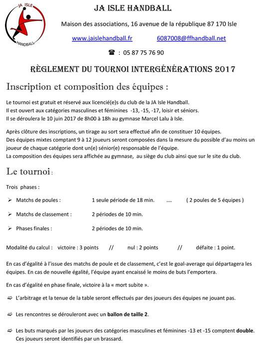 Tous les détails du règlement du Tournoi JA Isle Handball