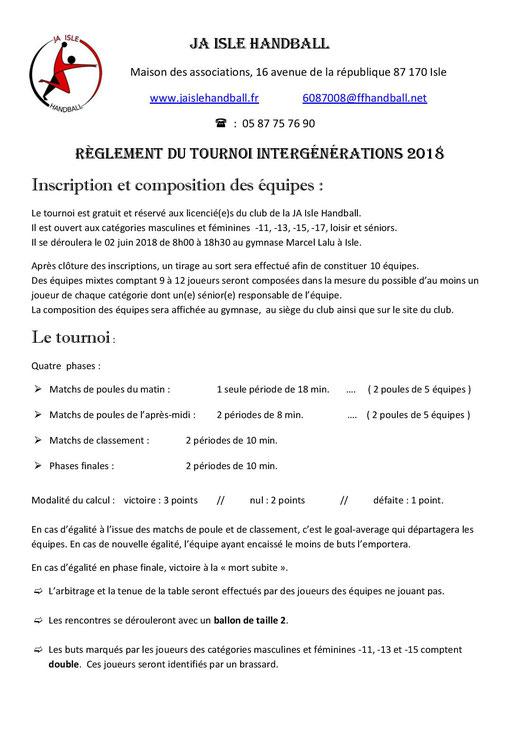 Règlement du Tournoi intergénérations 2018