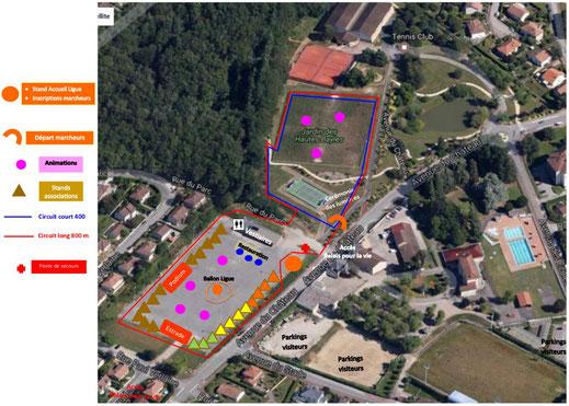 le plan du parcours des Relais pour la Vie 2017 (JA Isle Handball)