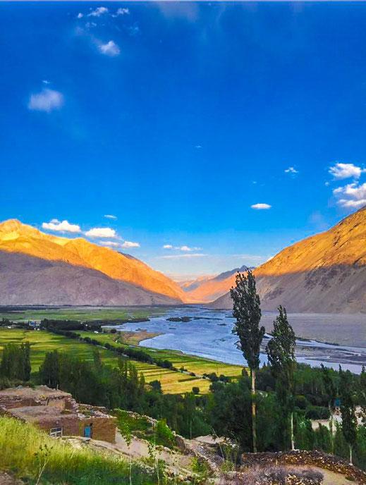 Tajikistan, Afghanistan. View into the Wakhan Corridor