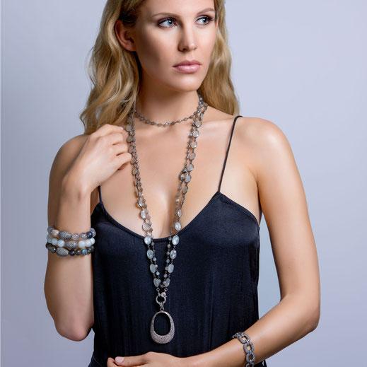 """diamond pendant """"Modern Om Long"""" on a Moonstone bezel chain"""