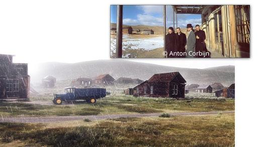 Oben: U2 lassen sich von Corbijn unter dem Dach des ehemaligen Wheaton and Hollies Hotels ablichten. Unten: Blick von der selben Position aus auf Bodie während eines Regenschauers
