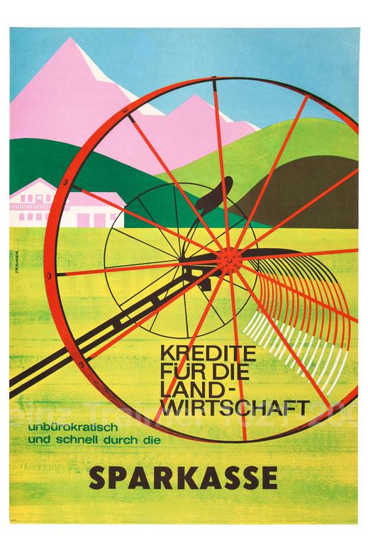 Kredite für die Landwirtschaft - unbürokratisch und schnell durch die Sparkasse (Landwirtschaftliches Gerät vor Bergkulisse) Plakat um 1961 (83x60).