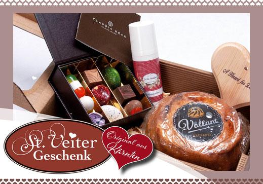 """Geschenkkarton """"St. Veiter Geschenk"""" mit Zirbenherz, handcreme von Ja & Anders, Reinging von Vallant und Pralinen von Rock"""