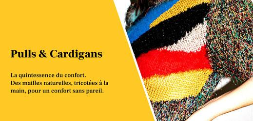 Pulls et cardigans vintage, tricotés à la main, en laine, en cachemire, en mohair, en angora. Mailles Anny Blatt, Courrèges et autres marques de luxe.