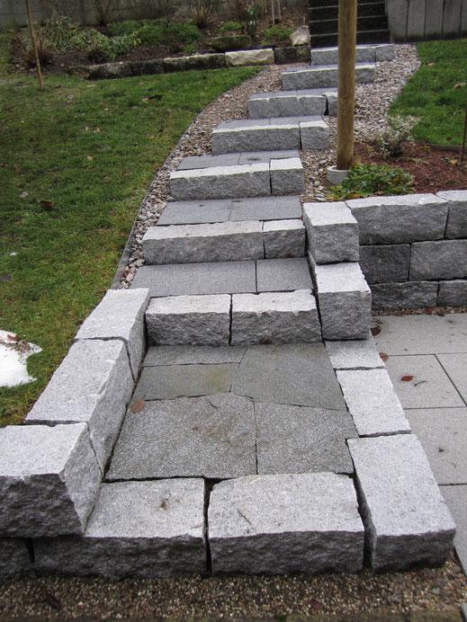 Treppenstufen mit Granitmauersteinen 20/20 und Granitplatten im Podest. In den Stufen Bodenplatten BCH Nova 60/40 cm. Einfassung mit Rasenabschluss verzinkt und Granitschotter.