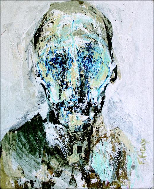 Regard plein - Technique mixte - Dimensions : 61 x 50 cm - Oeuvre de François Rieux