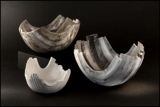 Coupes en porcelaine - Création de Martine Venant