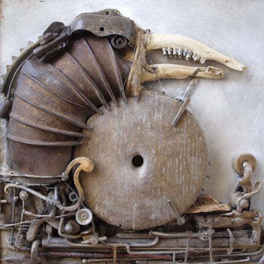 Ombilic - 49 x 49 cm, 2017, techniques mixtes. Oeuvre de Vincent Turbet