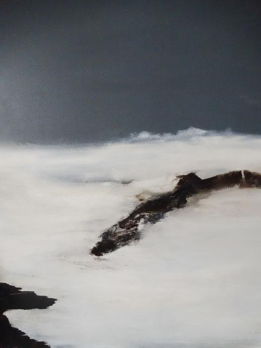"""""""Roches brunes"""" - huile et bitume sur toile - Dim. 100 x 50 cm - 2017. Oeuvre de Nanie."""