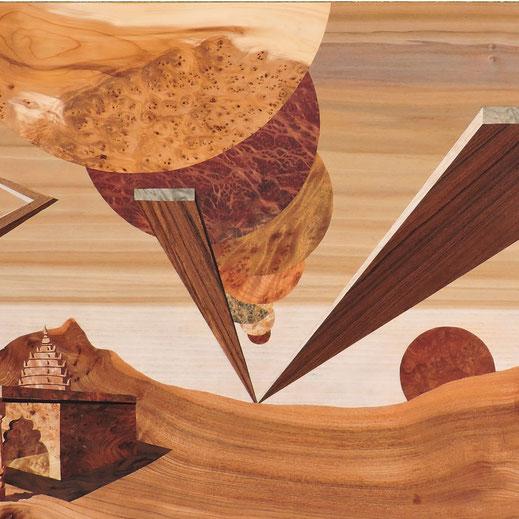 Légende : « L'abondance et la misère » marqueterie 20 essences de bois précieux, 1.25 x 0.48 m. Christophe Planchon