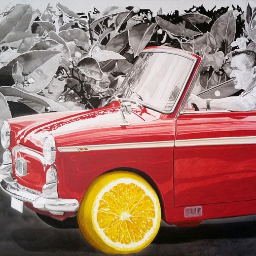 """""""Je taille ma route."""" Acrylique sur toile, 240 x 120 cm. Paul Rey"""