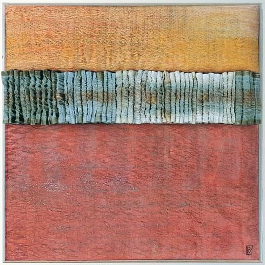 Légende : « La part des anges », technique mixte : papier sculpté et teinté , 50 x 50 x 4 cm. Pierette Vergne.