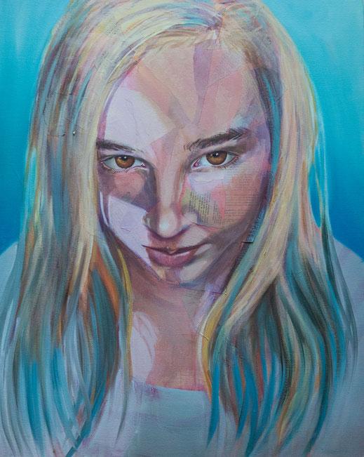 Louise - 80 cm x 65 cm - technique mixte sur toile - Oeuvre de Victoria Milroy