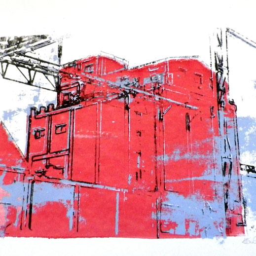 Légende : « L'usine » sérigraphie sur papier, 21 x 29,7 cm. Hanneke Tas-Crommentuyn