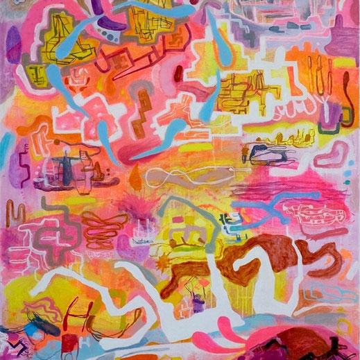 Légende « Transhumance Urbaine », Huile et acrylique sur lin 100 x 100cm. Ross Gash
