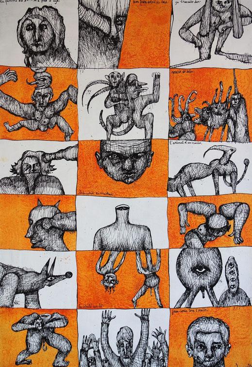 L'animal et ses manies - encre de chine sur toile d'Eric Demelis - 50 x 70 cm.