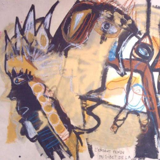 """""""L'enfant pendu au gibet de la vie"""" Technique  mixte, papier marouflé sur toile, 170 x 100 cm"""
