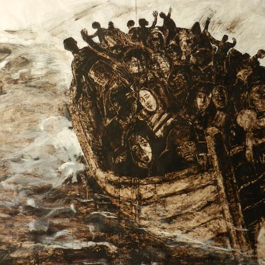 Légende : « Méditerranée » Goudron sur Tyvek, 200 x 300 cm. Anne d Chabaneix