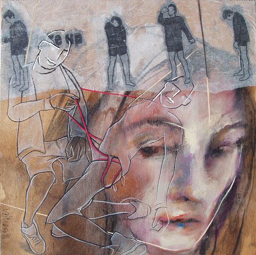 Wake-up et elle est floue - 36 x 36 cm - Technique mixte sur bois - 2014 - Oeuvre de Tiffany Vailier