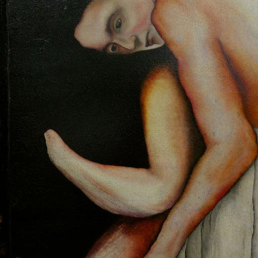"""""""Puppet"""" Huile et acrylique sur médium 46X121 cm. Peinture d'Hazel Taïs"""
