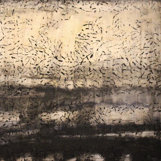 Légende : « Éphémères », acrylique, encre et collages sur toile.100 x 100 cm. Françoise Laporte.