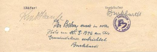 Bild: Gemeindesiegel Seeligstadt 1945